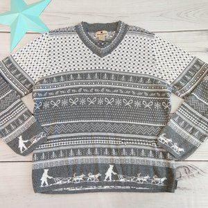Woolrich Sweater V Neck Gray Sled Dogs Winter